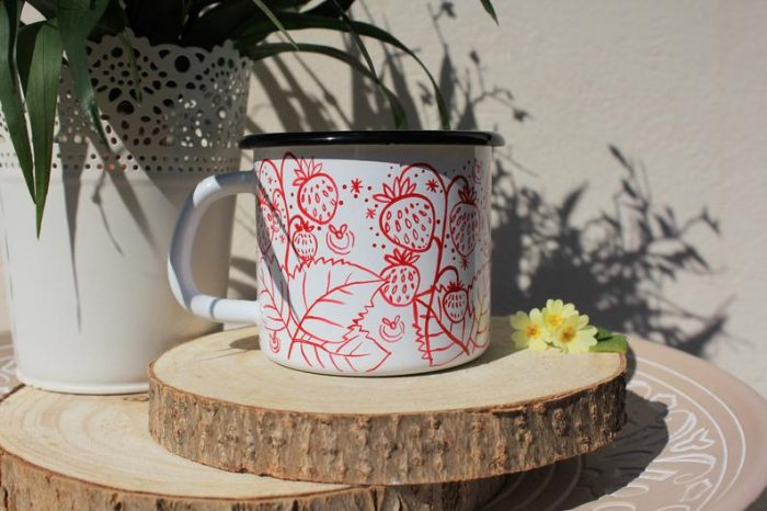 Strawberry enamel mug, handpainted starry sky camping cup fireflies cute plants sweet fruitStrawberry enamel mug, handpainted starry sky camping cup fireflies cute plants sweet fruit