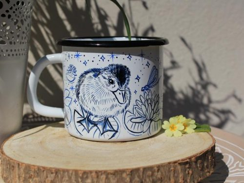 baby duck mug enamel shewolfka etsy cute lotus dragonfly