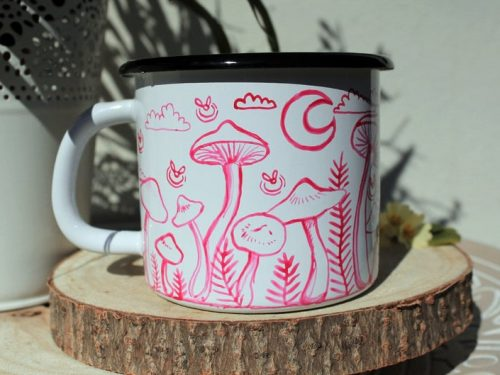 cute mushroom firefly enamel mug shewolfka etsy moon magical shrooms