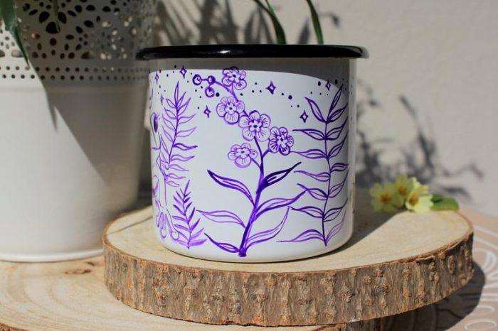 frog enamel mug, forget me nots shewolfka etsy tea cup moon stars flowers cutie