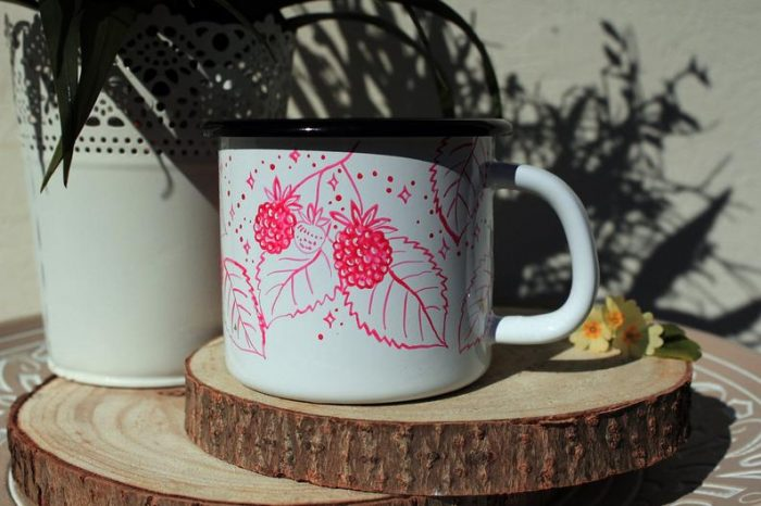 raspberry fox enamel mug handpainted etsy shewolfka forest animals camping mug hiking