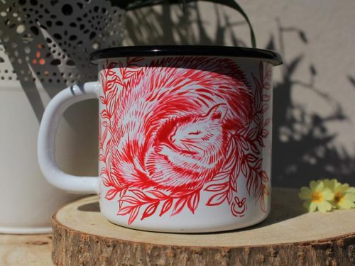 sleeping squirrel enamel mug shewolfka etsy cute fireflies firelfy