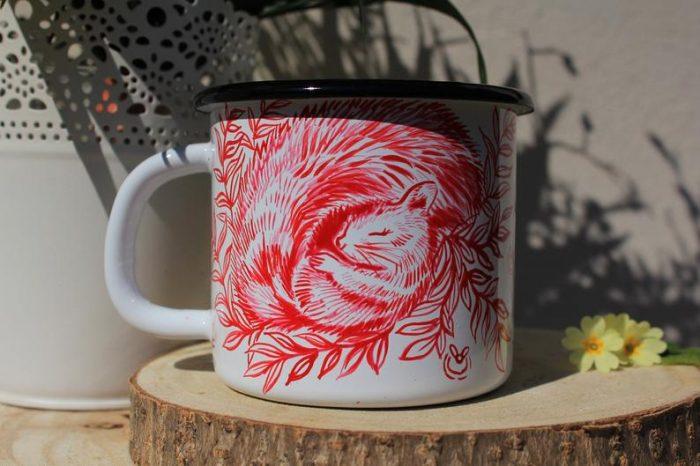 sleeping squirrel enamel mug shewolfka etsy cute fireflies firelfy