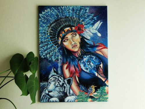 tribal native lady wall art, original canvas art, white tiger, hummingbirds, space art, galaxy canvas, acrylic painting, shewolfka